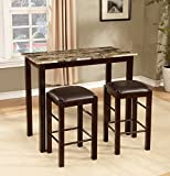 36 bar stools espresso - Roundhill Furniture Brando 3-Piece Counter Height Breakfast Set, Espresso Finish