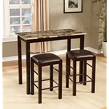 Roundhill Furniture Brando 3 Piece Counter Height Breakfast Set, Espresso  Finish