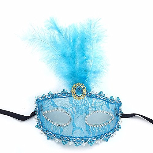 Face mask Shield Veil Guard Screen Domino False Front Feather mask Party Catwalk Makeup Dance Half face Lace mask Sexy Transparent Halloween mask Female Blue ()