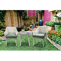 Major-Q 9045005 3Pc Patio Bistro Set in Green Fabric and Beige Wicker with 2 Arm Chairs and Side Table