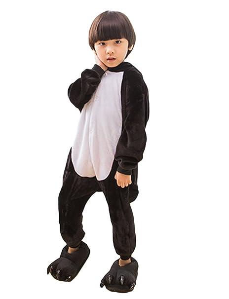 MissFox Kigurumi Pijamas Unisexo Niños Traje Disfraz Niños Animal Pyjamas Pingüino Negro 105