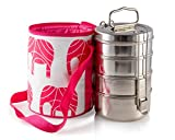 4 Tier Large Tiffin with Thermally Insulated Red Elephant Patterned Tiffin Bag Carrier
