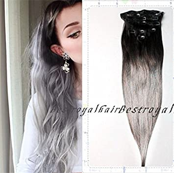 Amazon black to silver grey two colors ombre hair extensions black to silver grey two colors ombre hair extensions indian remy clip in ombre human pmusecretfo Image collections