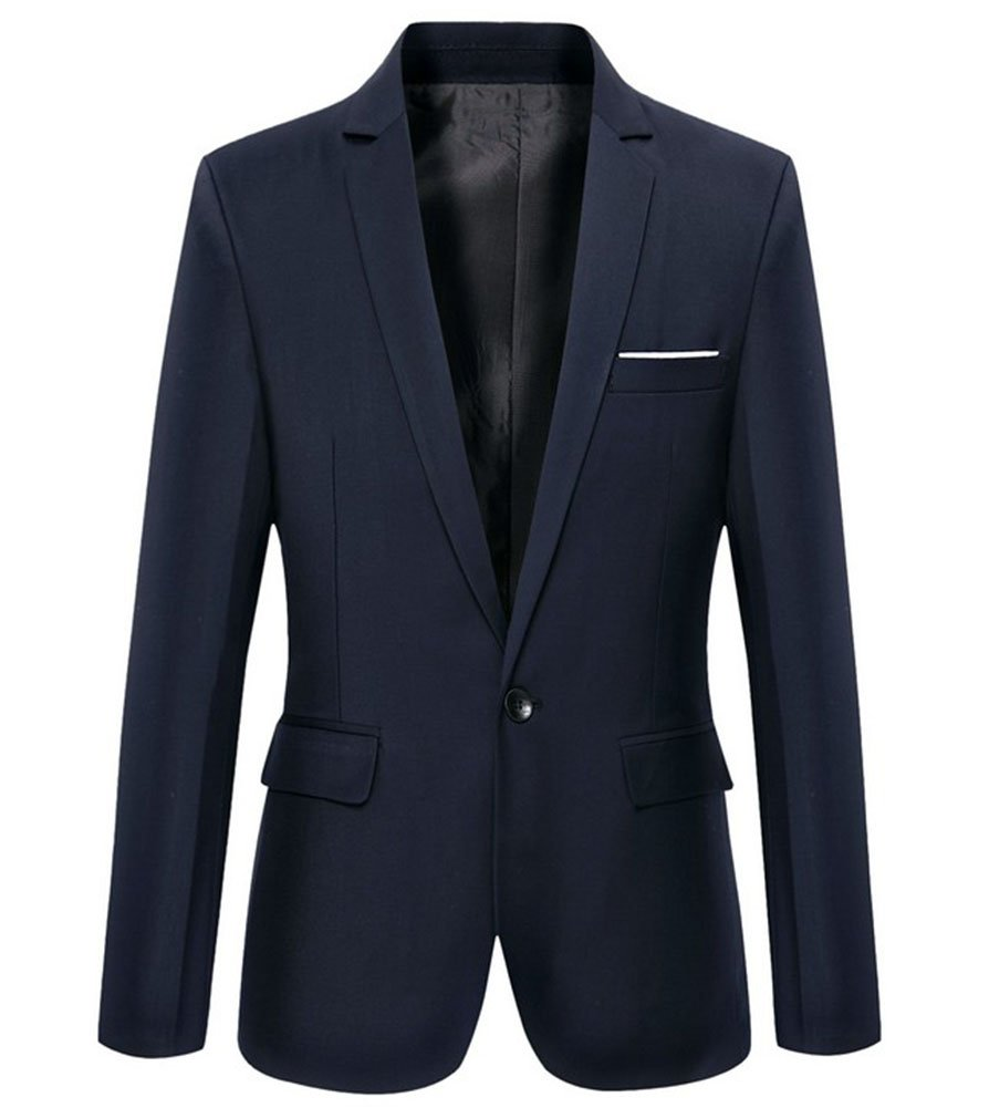 Mens Slim Fit Casual One Button Blazer Jacket (M, 302Navy)