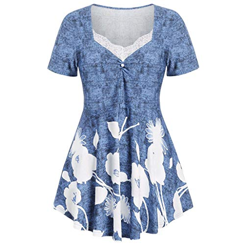 Women Floral Printed O-Neck Tops,Ruched Lace Short Sleeve Plus Size Fashion Tops (Tie Dye Toothbrush)