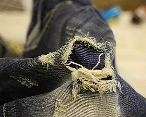 Attillati In Sottili Strappati Uomo Blau Dritti Giovane Lunghi Da Denim Pantaloni Jeans Retrò Skinny 0BqaWa