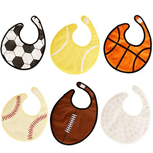 GOGO 6 Pieces Sports Ball Baby Bibs Soccer Basketball and More 3 Layers Water Resistant Bib-Assorted