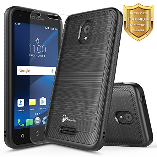 Alcatel IdealXCITE Case, Alcatel Raven LTE (A574BL), Alcatel CameoX/Alcatel Verso / U50 Case with [Tempered Glass Screen Protector], NageBee [Carbon Fiber Brushed] Dual Layer Hybrid Case -Black
