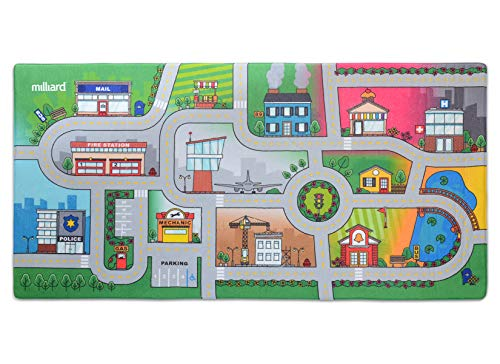 Milliard Kids Rug Car Road Play Mat - Jumbo: 39 x 79