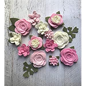 Wool Felt Fabric Flowers - Simply Pink Colletion - Felt Flowers - Large Posies - 13 Flowers & 18 leaves - Create your own Headbands, DIY Wreaths 95