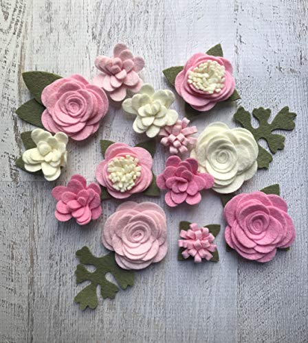 Wool Felt Fabric Flowers - Simply Pink Colletion - Felt Flowers - Large Posies - 13 Flowers & 18 leaves - Create your own Headbands, DIY ()