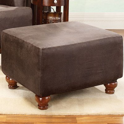 Sure Fit Stretch Leather  - Ottoman Slipcover  - Brown (SF37322)
