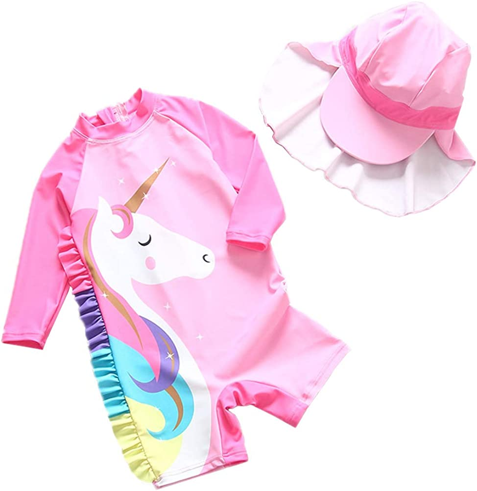 Baby Girls Swimsuit One Piece Long Sleeve Swimwear Little Kid Cute Unicorn Zip Rashguard Sun Protection 2-7t