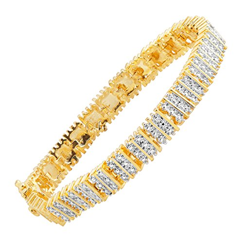 Square Link Tennis Bracelet with Diamonds in 18K Gold-Plated Brass
