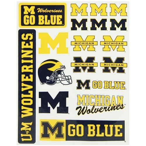 Michigan Wolverines Vinyl Cling Stickers 18 Removeable Decals NCAA