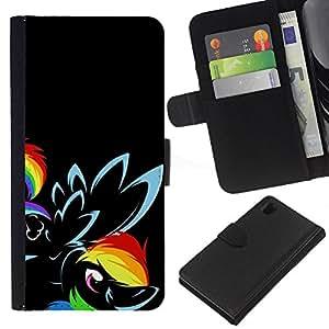 Sony Xperia Z1 / L39h / C6902 Modelo colorido cuero carpeta tirón caso cubierta piel Holster Funda protección - Flower Black Rainbow Eye Bird
