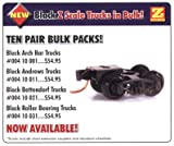 Micro Trains Z Scale Black Bettendorf Trucks w/Coupler - 10 Pair Bulk Pack