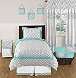 Turquoise and Gray Zig Zag Childrens and Kids Bedding Set 4 Piece Girl or Boy Twin Set