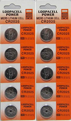 Loopacell Lithium Battery CR2025-10 Pcs Pack - 2 Blisters 3V Lithium Button Cell