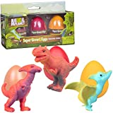 SCS Direct Animal Planet Super Grow Dinosaur Eggs 3 Pack - Toys Hatch and Grow to 3X Size in Water - Pterodactyl, Carnotaurus, & Parasaur - Includes Dino Educational Fact Cards