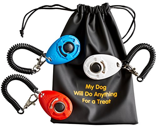 BusyBee Dog Training Clicker with Wrist Band (3 Pack) + 3 Practical Pouches + 1 Dog Treat Bag. Bonus: Training Guide …