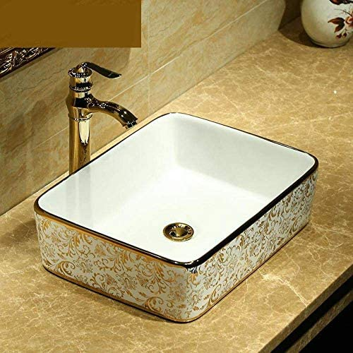 Yadianna ヨーロッパのヴィンテージスタイルセラミック洗面台のカウンター浴室のシンクボウル長方形の金パターンセラミック洗面台のバスルームのシンク@ only_sink
