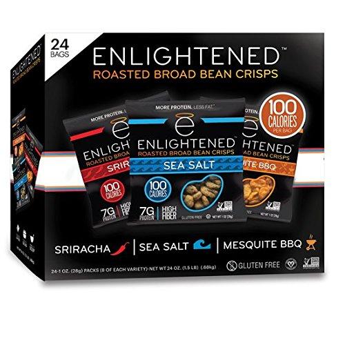 Enlightened Gluten-Free Roasted Broad (Fava) Bean Crisp Snack, Variety Pack, 1.0 oz, 24 Count