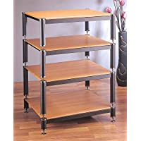 BL Series 4-Shelf Audio Rack 9, 7, 7 Spacing Shelves: Oak, Poles/Caps: Black Poles/Gold Caps