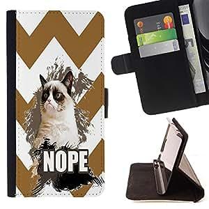 King Case - FOR Samsung Galaxy S3 MINI 8190 - I don??t care - Prima caja de la PU billetera de cuero con ranuras para tarjetas, efectivo Compartimiento desmontable y correa para la mu?eca