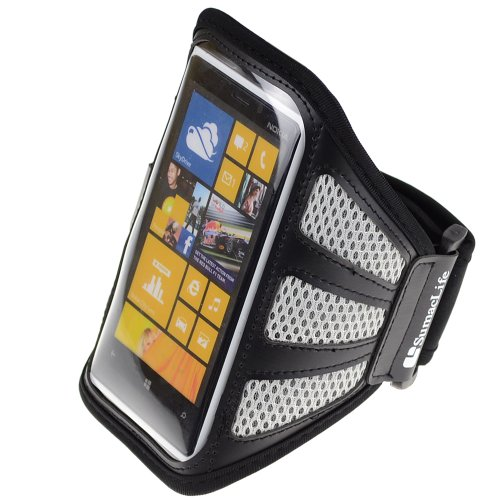 SumacLife Mesh Adjustable Workout Running Sports Armband Case for Nokia Lumia Series Windows Phone Smartphones (Gray Mesh)