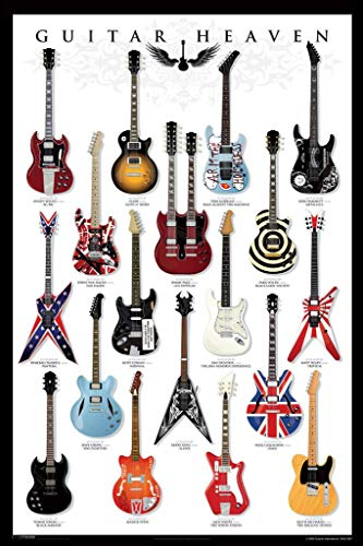 Pyramid America Laminated Guitar Heaven Famous Classic Electric Collection Rock Star Music Sign Poster 12x18 inch