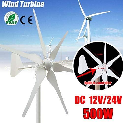SISHUINIANHUA Wind-Turbinen-Generator 6 Blades 12V / 24V 500W Miniatur-Windkraftanlagen Wohnhaus mit Controller für den Heimgebrauch,24v