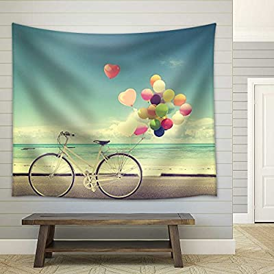 Crafted to Perfection, Wonderful Technique, Bicycle Vintage with Heart Balloon on Beach Blue Sky Concept of Love in Summer and Wedding Fabric Wall