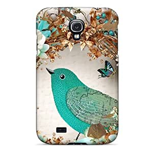 Fashion EtITiAl1824krQTv Case Cover For Galaxy S4(bird Flowers Cyan)