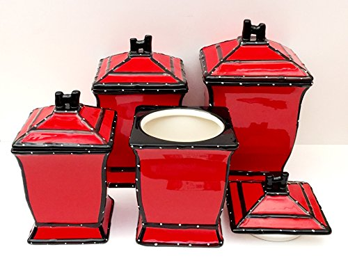 - Tuscany Hand Painted Red Ruffle 4pcs Canister Set, 85201 by ACK