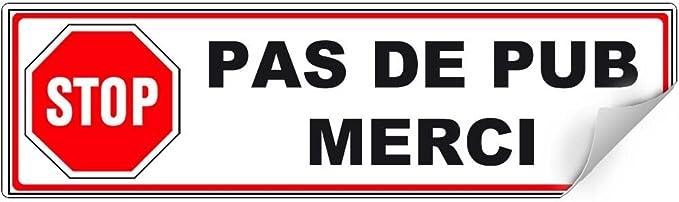 STICKER AUTOCOLLANT BOITE AUX LETTRES 7,5cm MERCI PAS DE PUB ANTI PUB PA077