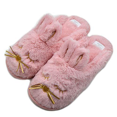 Cute Bunny Fuzzy Slippers |Warm Animal Memory Foam Rabbit Plush |Women Indoor Outdoor Bedroom Slippers (US 7-8, -