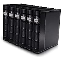 Bellagio-Italia Black Leather Disc Storage Binder Perfect For CDs, DVDs, Blu-Rays, and Video Games. 6 pack - set holds 288 discs total. Additional Insert Sheets available.
