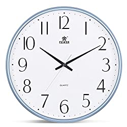 Power 13-Inch Round Non-Ticking Silent Wall Clock Decorative, Battery Operated Quartz Analog Quiet Wall Clock, For Living Room, Kitchen, Bedroom (BLUE)