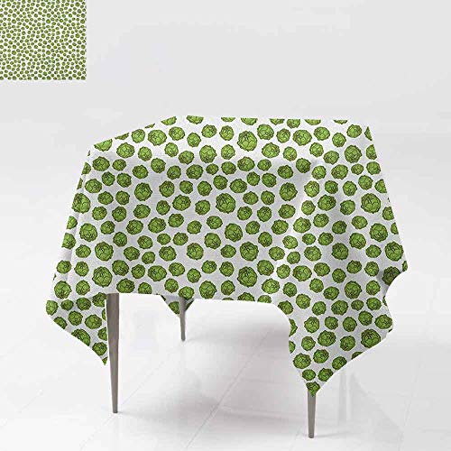 AndyTours Spill-Proof Table Cover,Green and White,Fresh Healthy Food Theme Graphic Artichoke Pattern Vegetarian Diet,Party Decorations Table Cover Cloth,54x54 Inch Green and White
