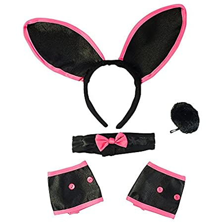 Bunny Ears Collar Cuffs & Tail For Adults