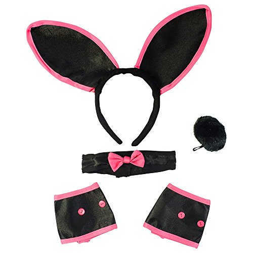 [Sexy Bunny Costume Set - Bunny Ears Collar Cuffs & Tail For Adults Funny Party Hats] (Sexy Halloween Dress Up)