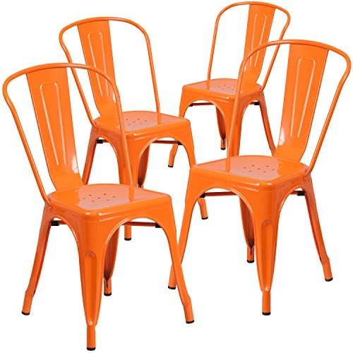 Flash Furniture 4 Pk. Orange Metal Indoor-Outdoor Stackable Chair