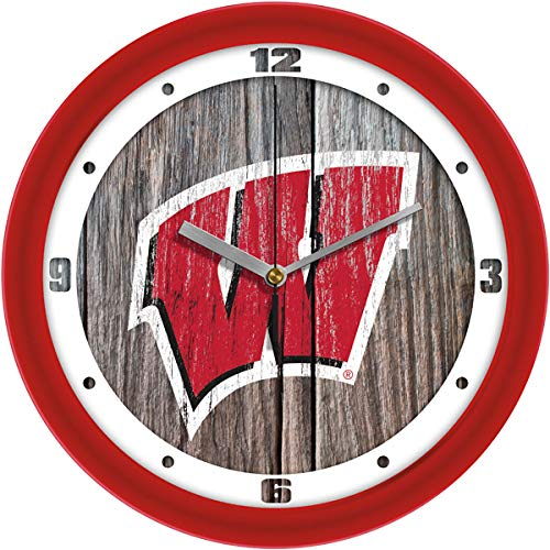 Wall Wisconsin Clock Badgers - SunTime Wisconsin Badgers - Weathered Wood Wall Clock