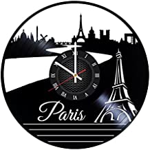 Paris Vinyl Record Wall Clock Gift For Boys and Girls Great Idea Home Decor Vintage Decoration - Buy gift for him and her