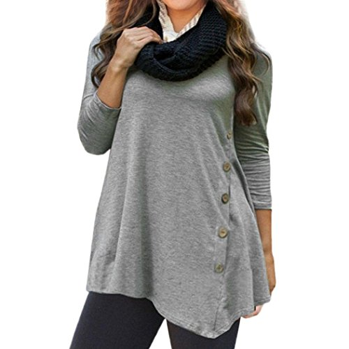 Clearance Round Neck Button Irregular Top Women Long Sleeve Loose Button Trim Blouse Solid Color Round Neck Tunic Duseedik ()