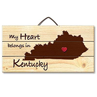 Funlaugh Kentucky Laser Etched Hanging Sign with Heart Shaped Push Pin 6 X 12 Inch Wooden Plaque Sign Crafts for Living Room Decorative