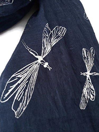 Bleu écharpe Argent libellule imprimé pour femme Bleu marine Wrap Bleu Foncé Châle