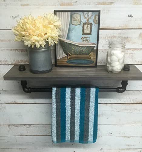 Industrial towel rack shelf rustic shelves for Home decorations amazon