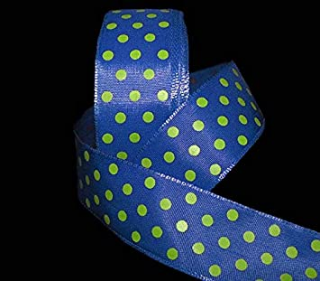 "5 Yards Blue Lime Green Sugar Polka Dot Wired Ribbon 1 1//2/""W"